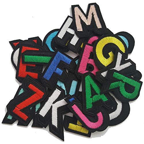 Lightbird Letters Iron on Patches, 26 Pieces Letters Decorative Patches, Sew on Patches for Clothing, Hat, Jackets, Backpack