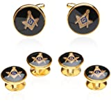 Apparel : Mens Freemason Masonic Cufflinks Studs (Studs Won't Spin) Tuxedo Formal Set with Presentation Box