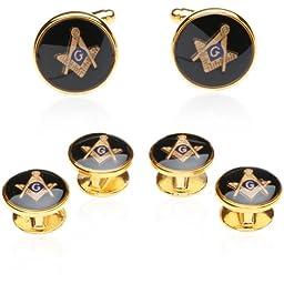 Men's Cuff Links and Studs Freemason Set on Gold-Tone Base by Cuff-Daddy