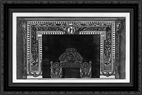 Fireplace with a cameo in the frieze and border of small acorns, rich wing 24x19 Black Ornate Wood Framed Canvas Art by Piranesi, Giovanni Battista by ArtDirect