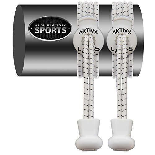 AKTIVX SPORTS LACES – No Tie Shoelaces that Lock – Replacement Elastic Shoelaces, Athletic Laces for Running Gear Accessories, Mens Womens or Kids Shoes, Fitness Exercise Equipment (White)