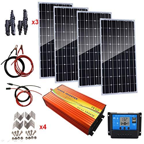 AUECOOR 400 Watts Monocrystalline Solar Panel Kit with 1500W Power Inverter & 30A Solar Charger Boat, RV,for Off-Grid 12 Volt Battery Charging ()