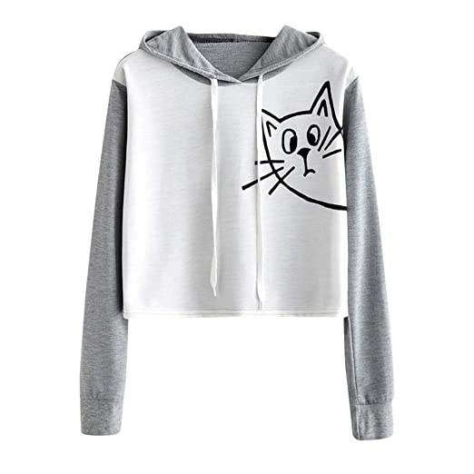 e1801a764c Dimanul Hoodies Sweatshirt Cardigan Women Long Sleeve Pullover Sexy Crop  Tops Teen Girls Gray Cat Print at Amazon Women s Clothing store