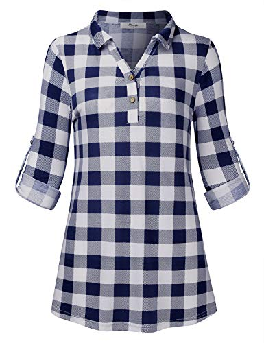 Cestyle Career Tops for Women,Teen Girl Long Sleeve Henley Shirts Button Embellished Cuffed Sleeve Blouses Office Plaid Printed V Neck Tunic Tees for Work Blue & White Checkered Large ()