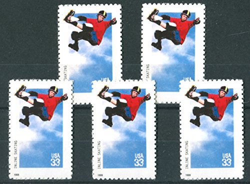 INLINE SKATING #3324 Set of 5 US Postage stamps / Stickers / Art
