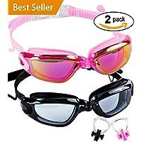 SBORTI Swim Goggles 2 Pack Swimming Goggles for Adult...