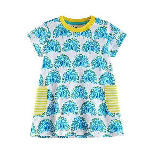 Doris Batchelor Elegant Kids Summer Baby Girls Dress Cotton Cartoon Print Toddlers Children Casual Dresses with Pockets as Picture 3T