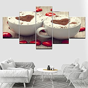 Design PT Moderne Poster Modulare Bilder Leinwand 5 Stück Kaffee  Herzförmige Gemälde Wohnkultur Wohnzimmer Wandkunst HD