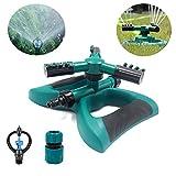 Bluexury Lawn Sprinkler, Garden Sprinkler 360° Rotating Automatic Rotating Adjustable Water Sprinkler Irrigation System for Garden Yard and Outdoor