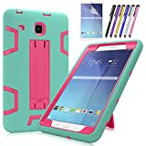 Galaxy Tab E 8.0 Case, Mignova Heavy Duty Hybrid Protective Case with Build In Kickstand For Samsung Galaxy Tab E 8.0 Inch SM-T377 T375 T378 + Screen Protector Film and Stylus Pen (Blue/Pink)