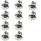 ucomshop 12mm Anti-Vandal Momentary Metal Push Button Switch Toggle Top Chrome Pack of 10