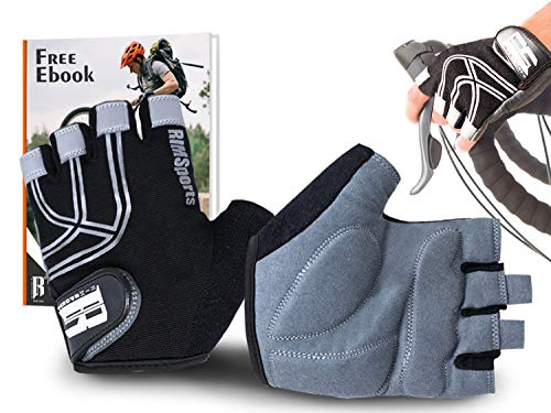 (RIMSports Bike Gloves for Men & Women - MTB Gloves w/Microfiber Thumb - Ideal Mountain Biking Gloves & Cycling Gloves - Reflective Biking Gloves - Premium Bicycle Gloves & Riding Gloves (Black, M))