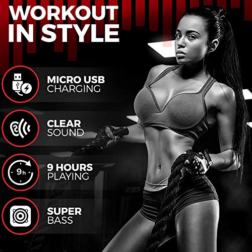 Wireless Workout Bluetooth Headphones for Running and Gym - Best Sport Earbuds for Men & Women - Waterproof IPX7 Sports Earphones - Noise Canceling Headset for iPhone & Android 7