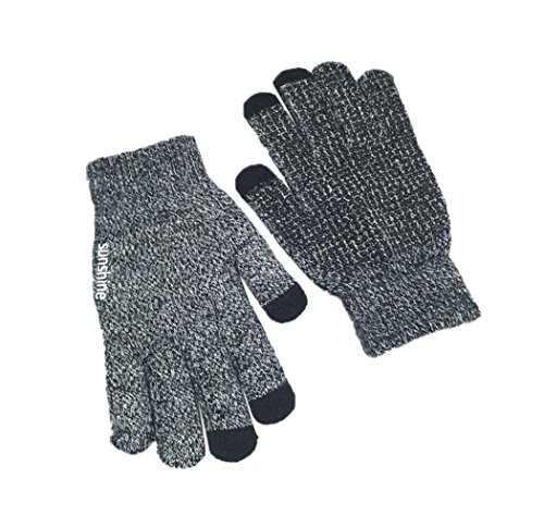 Veenajo Mens Womens Knit Three Touchscreen Fingers Gloves Warm Cold Weather Gloves (Black)