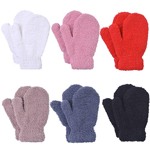 Cooraby 6 Pairs Toddler Magic Stretch Mittens Winter Unisex Baby Knitted Gloves Mittens (Mixed Color E, 2-4 Years)