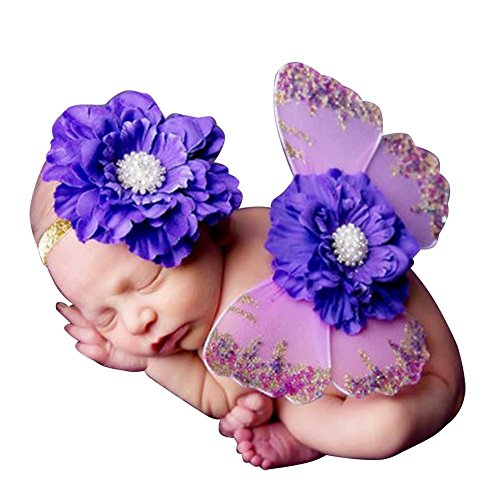 8haohuo Newborn Baby Girl Outfits Cute Butterfly Wings With Headband Photography Prop (No-3)