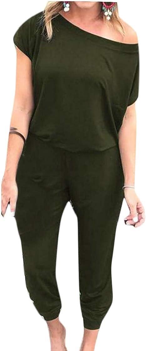 Joe Wenko Womens Basic Elastic Waist One Shoulder Pocket Playsuit Jumpsuits