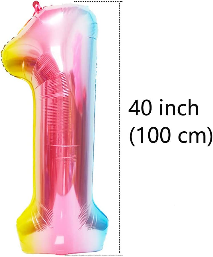 Rainbow #11 BoomYou Large Foil Mylar Balloons 40 Inch Rainbow Number 11 Balloons Giant Jumbo Birthday Balloons for Birthday Party Decorations