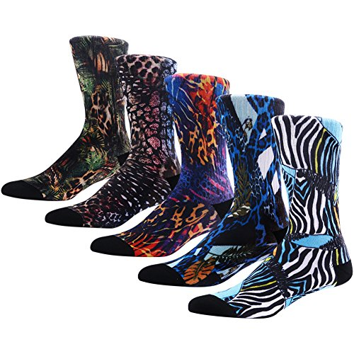 Wild Novelty Socks for Men, MEIKAN Fashionable Various Color Animal Painting Adventurous Jungle Patterned Design Luxury Socks 5 Pairs,Color 3,One Size