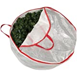 Household Essentials 30-Inch Circular Wreath Storage Bag with Red Trim