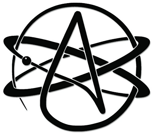 Atheism Atheist Agnostic Sign Symbol Vinyl Decal Sticker For Vehicle Car Truck Window Bumper Wall Decor - [6 inch/15 cm Wide] - Gloss RED Color