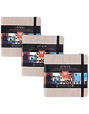 Arteza Aquarel-schetsboek van 14 cm x 14 cm, Set van 3 grijs schetsblokken met 68 tekenbladen elk, Schetspapier van 230 g/m2, Aquarelblok met harde kaft, Geschikt als reisdagboek en mixed-media-blok