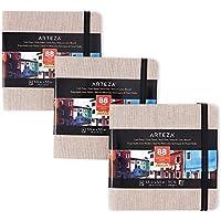 Arteza Aquarel-schetsboek van 14 cm x 14 cm, Set van 3 grijs schetsblokken met 68 tekenbladen elk, Schetspapier van 230…