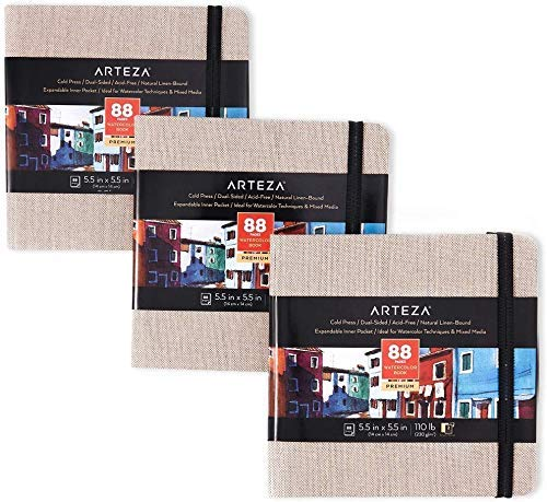 Arteza Watercolor Sketchbooks, 5.5x5.5-inch, 3-Pack, 132 Sheets, Gray Art Journal, Hardcover 110lb Paper Book, Art Supplies for Use as Travel Journal and Mixed Media Pad