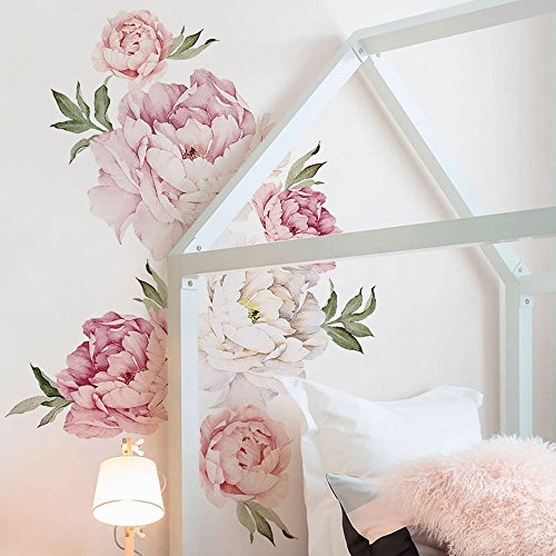 Simple Shapes Peony Flower Wall Sticker Mixed Pink