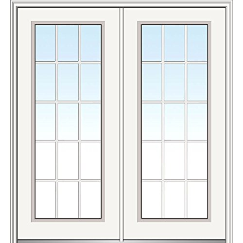National Door Company Z029254L Steel, Primed, Left Hand In-swing, Exterior Prehung Double Door, Internal Grilles Full Lite, 72''x80'' by National Door Company