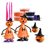 IBASETOY Halloween Modeling Clay Kit With Orange and Black Clay, Jack-O-Lantern Faces, Modeling Tools, and Wind-Up Walking Feet