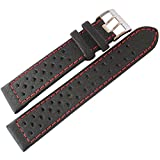Di-Modell Rallye 22mm Black Red-Stitch Leather Watch Strap