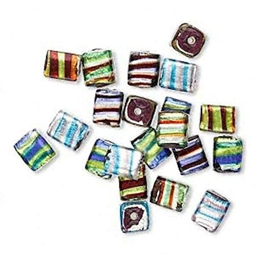 100 Grams Lampwork Glass Striped Foil 13x10mm Rectangle Cube Bead Mix Crafting Chain Bracelet Necklace Jewelry Accessories Pendants