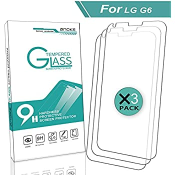 LG G6 Screen Protector, LG G6 Plus Screen Protector, AnoKe [Tempered glass] [Case Friendly] Anti-Scratch,Lifetime Replacement Warranty Ultra-Clear Screen Protector Film for LG G6 2017- 3Pack