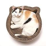 Cat1st Cat-headed Round Cardboard Scratcher Cuddler Bed,Birch