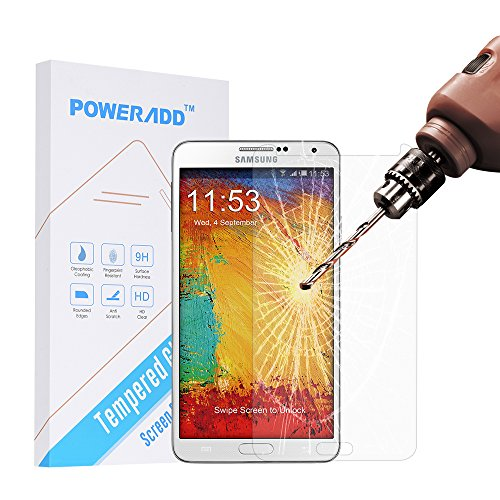 Samsung Note 3 Screen Protector, Poweradd Samsung Galaxy Note 3 Tempered Glass Screen Protector with Bubble Free, 9H Hardness, Anti Scratch and Touchscreen Accuracy - Retail Packaging