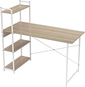CfdiasDnaozh Computer Desk, Computer Laptop Desk,Modern Style Computer Desk with 4 Tiers Bookshelf for Home Office Studying Living Room (Color : White 120cm)