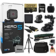 """GoPro HERO5 Session CHDHS-501 with 64GB Ultra Memory with MicroSD Reader + Suction Cup Mount + 67"""" Monopod + 60"""" Pro Series Tripod + Large Padded Case + Handgrip Stabilizer + HDMI Cable + More"""