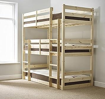 Three Sleeper Bunkbed 3ft Single Triple Sleeper Bunk Bed Heavy
