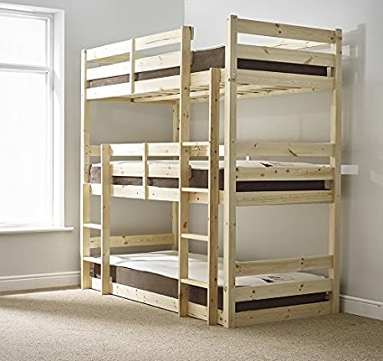 Contract Use 3ft Single Triple sleeper Bunk Bed heavy duty use Three sleeper Bunkbed VERY STRONG BUNK
