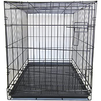 Amazon.com : YML 42-Inch Dog Kennel Cage with Wire Bottom Grate and Plastic Tray, Black : Pet