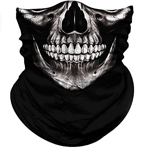 Obacle Motorcycle Face Mask Sun UV Dust Wind Protection Tube Mask Seamless Bandana Skeleton Face Mask for Men Women Bike Riding Cycling Biker Outdoor Festival (Skull Neat Teeth Black Face) ()
