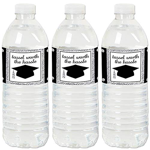 Silver - Tassel Worth The Hassle - 2019 Graduation Party Water Bottle Sticker Labels - Set of 20 -