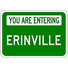 """Metal Signs You Are Entering Erinville - Customized """"Erin"""" Lastname - 12""""X18"""" Quality Aluminum Sign"""