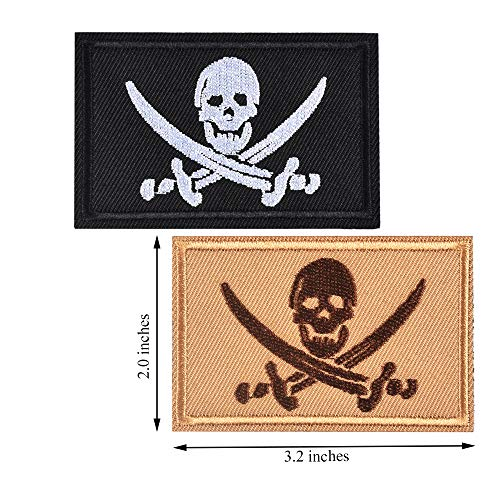 SHELCUP 2 Pieces Pirate Skull & Cross Sword Flag Jolly Roger Tactical Morale Embroidery Patch Military for Tactical Gear