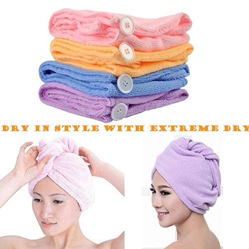 Extreme Dry Microfiber Hair Turban Towel - For Effiecent and Healthy Drying (8-Pak)