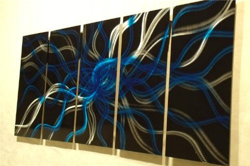Electric Blue Night - 64 inch x 24 inch Abstract Painting Metal Wall Art sculpture for contemporary decor Sculpture by Nider the Internationally Acclaimed Artist of Modern Contemporary Decor by NiderArt