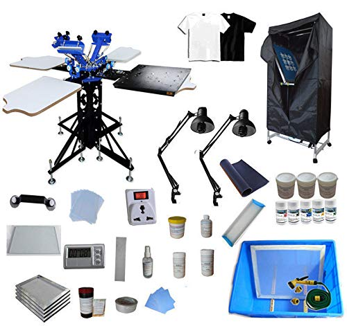 INTBUYING 3 Color 4 Station Screen Printing Kit Bundle Rotary Screen Printing Press Machine