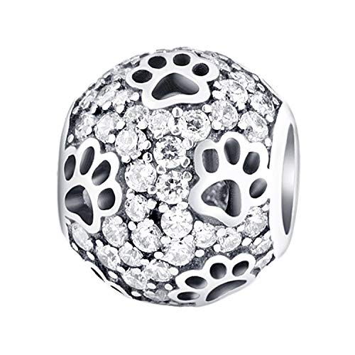 AMATOLOVE Dog Paw Print 925 Sterling Silver Charms Animal Pet for Bracelets Red Clear Pink CZ Jewelry 3 Style ()