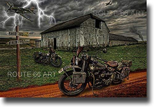 HARLEY DAVIDSON VINTAGE WLA MOTORCYCLE/ P51 MUSTANG WORLD WAR 2 BIKER ART PRINT